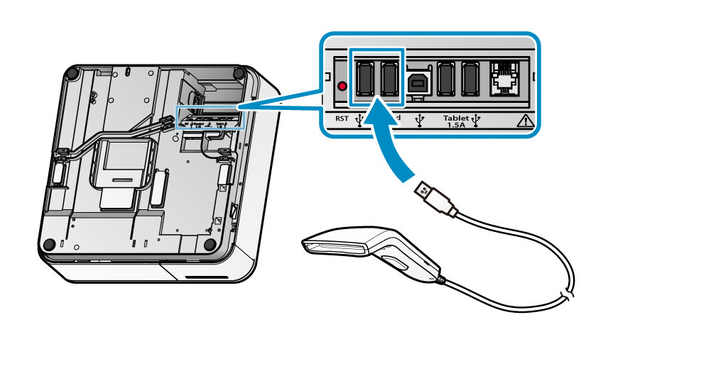 Connect BCR-POP1 scanner to mPOP USB port